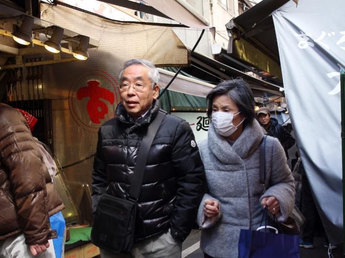 Street couple - Tsukiji market, Tokyo